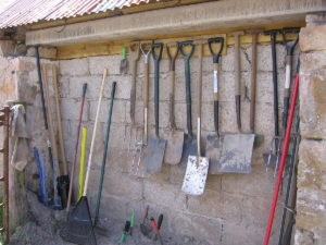 garden tools and shed